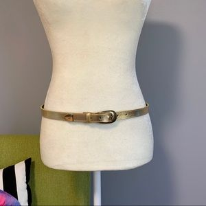 Thin Gold Faux Leather Adjustable Belt